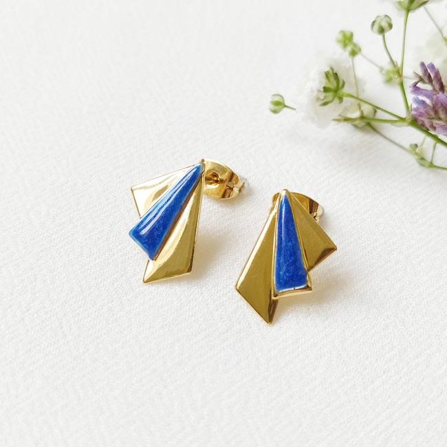 Bijoux-de-créateur-fantaisie-boucles-d-oreilles-tige-avec-email-bleu-doré-à-l-or-fin
