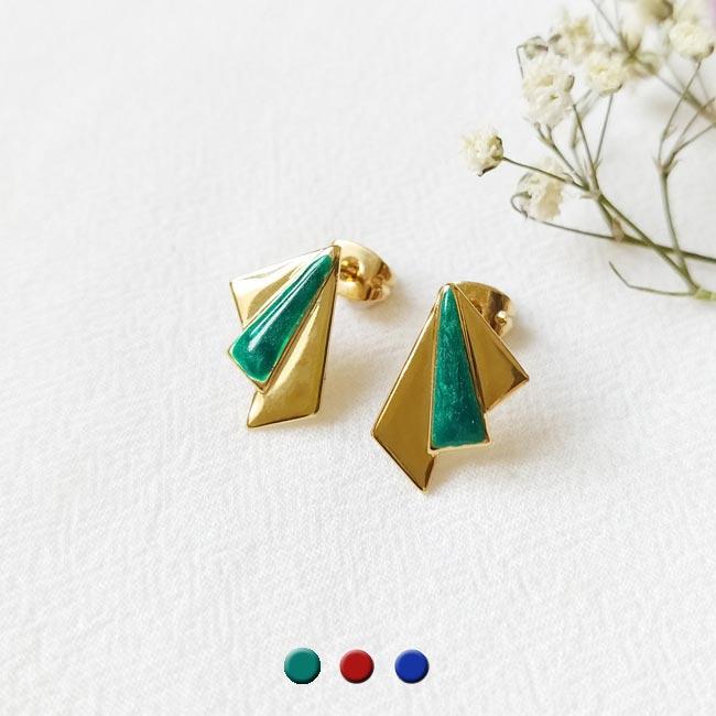 Bijoux-de-créateur-fantaisie-boucles-d-oreilles-tige-avec-email-vert-doré-à-l-or-fin