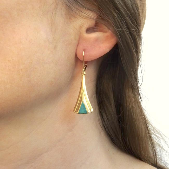 Handmade-gold-plated-earrings-for-women-with-blue-turquoise-enamel-made-in-France