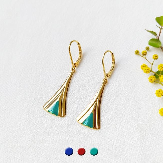 Boucle-d-oreille-doré-à-l-or-fin-bleu-turquoise-bijoux-créateur-fantaisie-fait-main