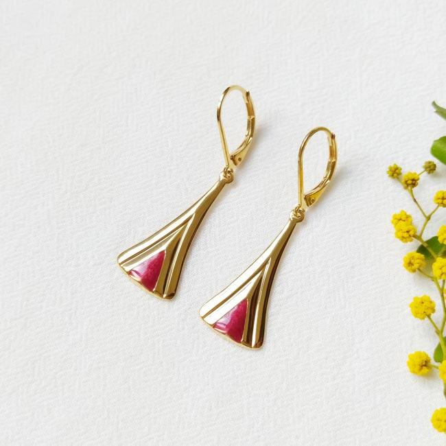 Boucle-d-oreille-doré-à-l-or-fin-prune-bijoux-créateur-fantaisie-fait-main