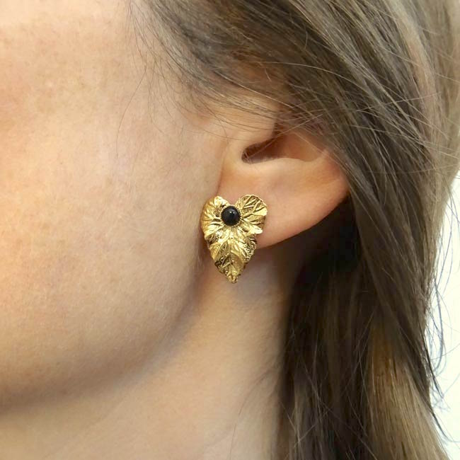Boucle-d-oreille-fait-main-pierre-noire-bijoux-de-créateur-fantaisie