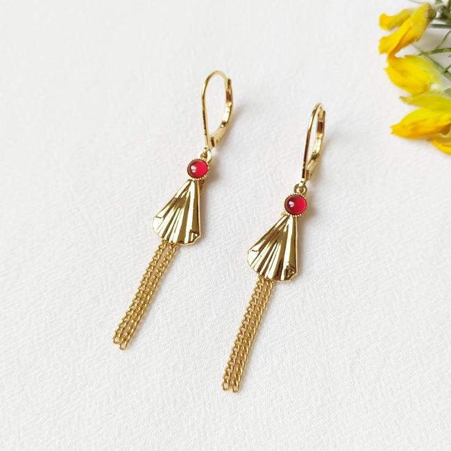 Boucle-d-oreille-rouge-orange-doré-à-l-or-fin-bijoux-de-créateur-fantaisie-fait-à-la-main