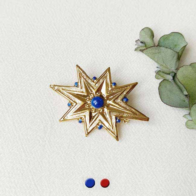 Bijoux-fantaisie-de-créateur-broche-doré-bleu-fait-main-paris