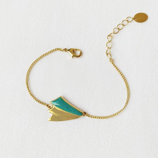 Bracelet-bleu-bijoux-de-créateur-fantaisie-doré-or-fait-main2