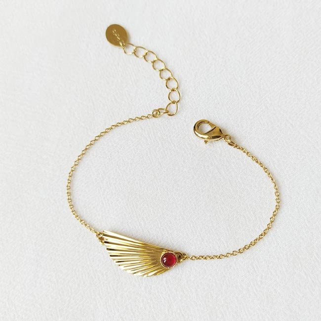 Bracelet-pierre-rouge-bijoux-de-créateur-fantaisie-doré-or-fait-main2
