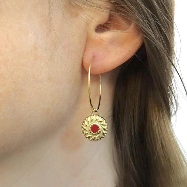Bijoux-de-créateur-fantaisie-boucles-d-oreilles-or-rouge-fait-à-la-main-à-Paris