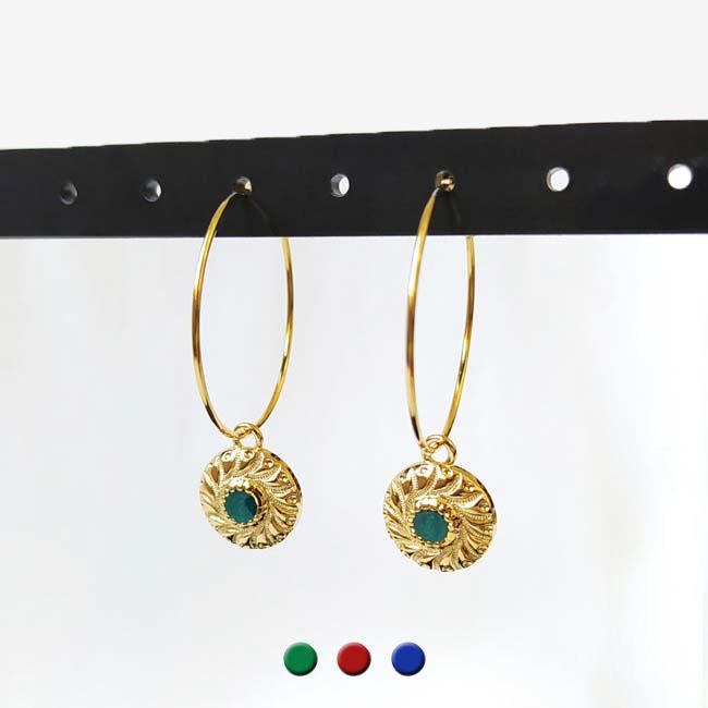Bijoux-de-créateur-fantaisie-boucles-d-oreilles-or-verte-fait-à-la-main-à-Paris