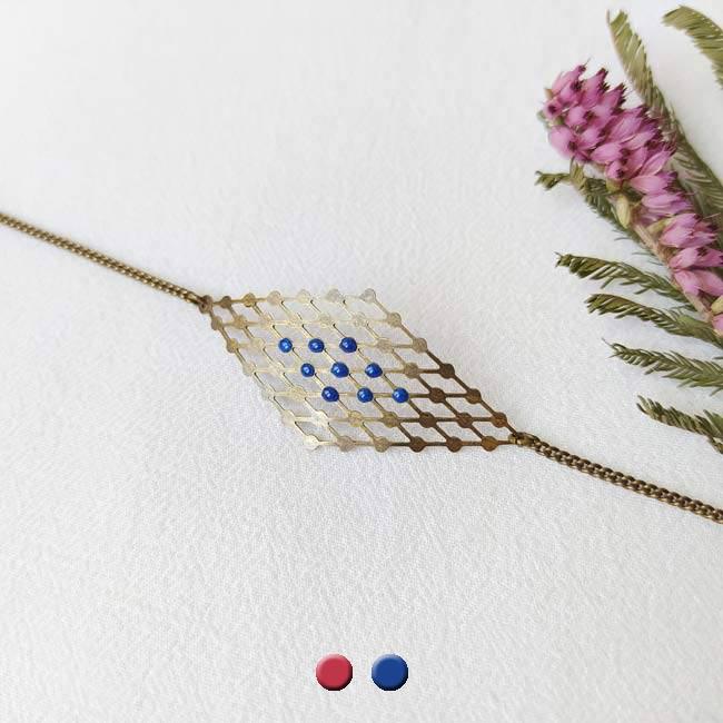 Bijoux-bronze-createur-fantaisie-bracelet-email-bleu-fait-main-paris