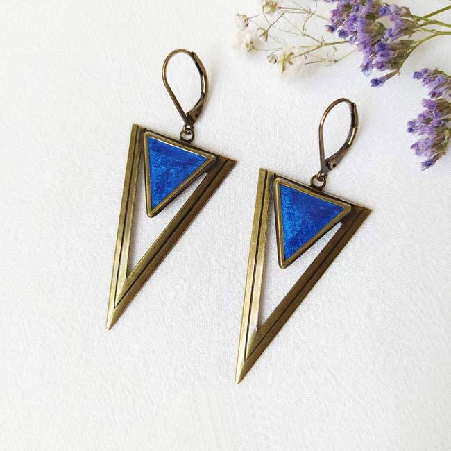 Bijoux-de-créateur-fantaisie-boucles-d-oreilles-bronze-bleu-roi-fait-main