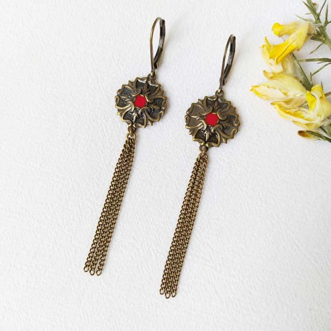 Bijoux-de-créateur-fantaisie-boucles-d-oreilles-bronze-rouge-pendante-fait-main
