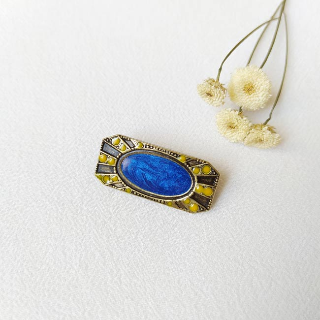 Broche-bronze-fantaisie-de-créateur-rectangle-bleu-roi-fait-main