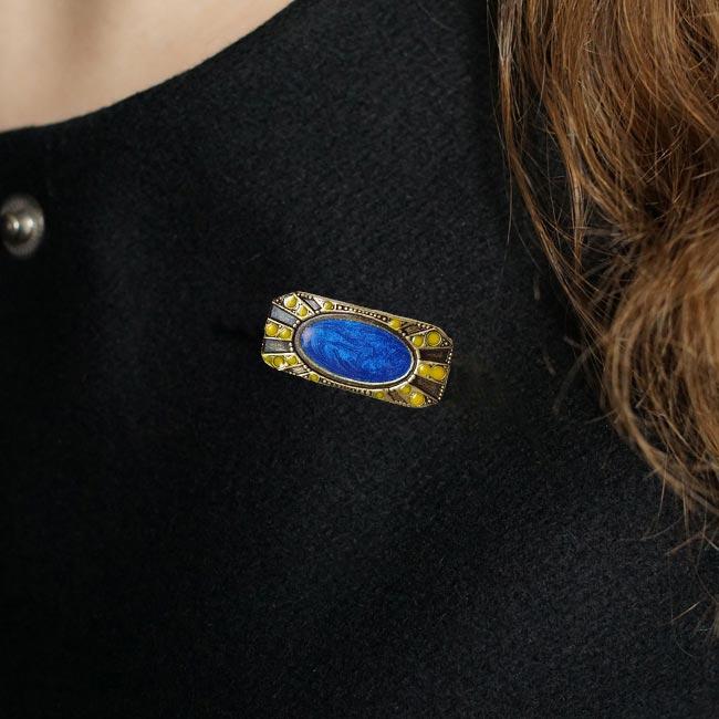 Broche-bronze-fantaisie-de-créateur-rectangle-bleu-fait-main