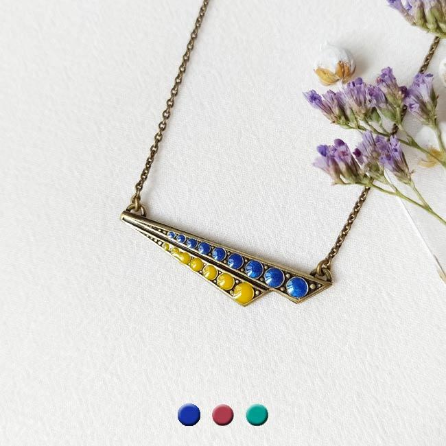 Collier-bronze-de-créateur-fantaisie-jaune-bleu-fait-main-à-Paris