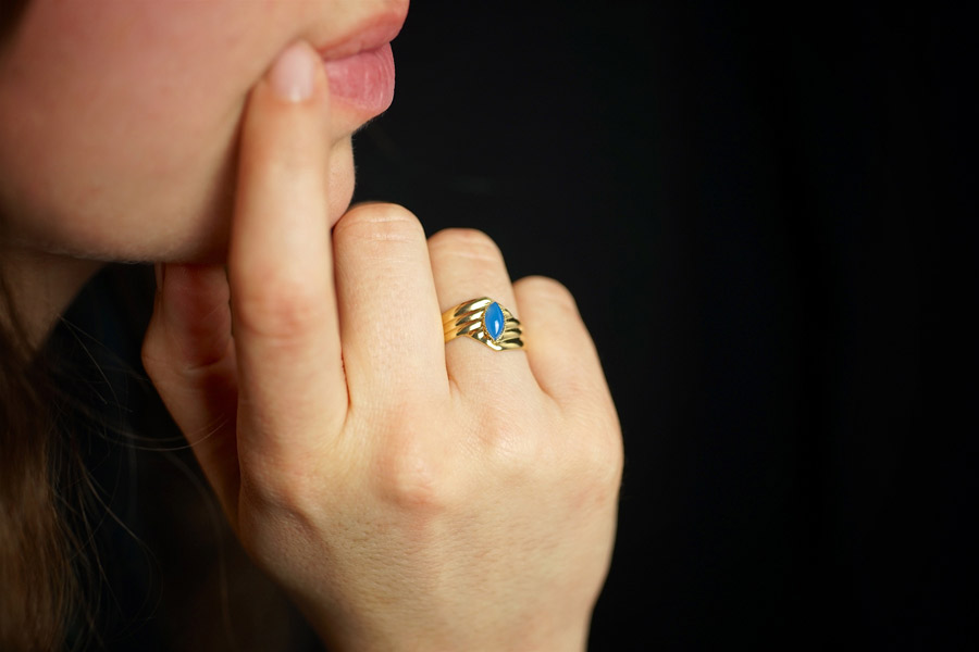 Handmade-gold-plated-adjustable-ring-for-women-with-gemstone-made-in-France
