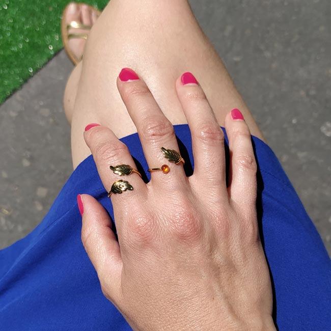 Bague-fine-réglable-fantaisie-de-créateur-pour-femme-en-or-avec-feuille-fabriqué-en-France