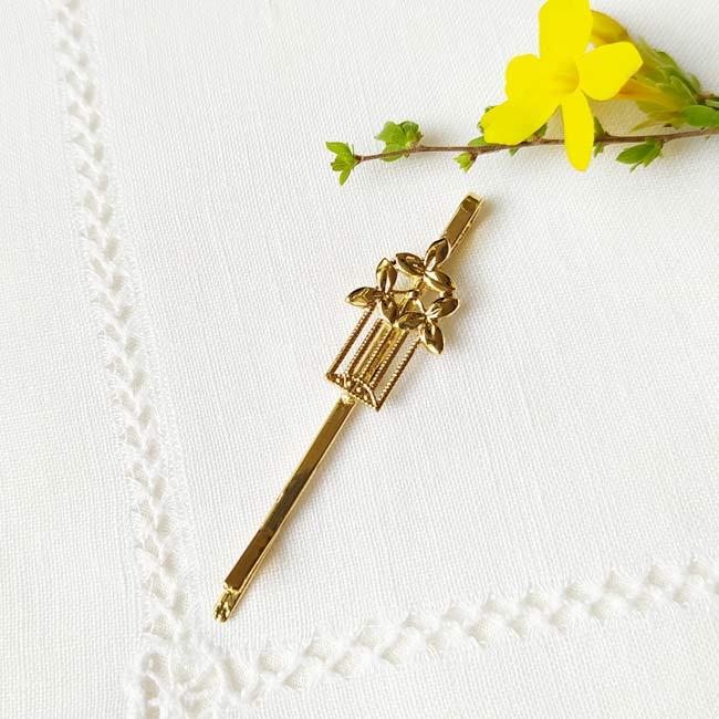 Customed-handmade-gold-hair-pin-for-girl or-women-made-in-France