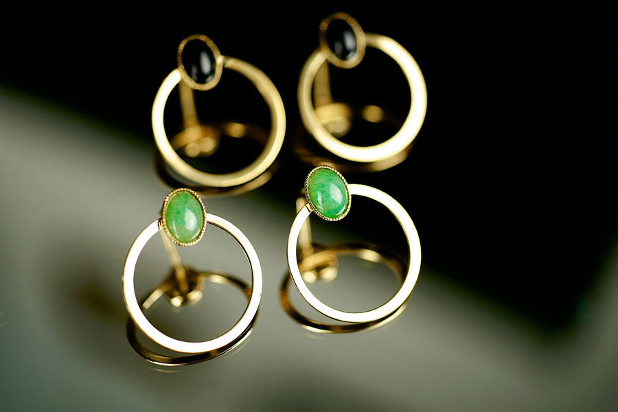 Handmade-gold-plated-stud-earrings-for-women-with-gemstone-made-in-France