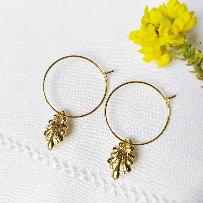 Boucles-oreilles-de-créateur-fantaisie-en-or-pour-femme-avec-email-noir-fabriqué-en-France