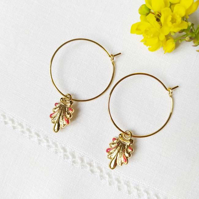 Boucles-oreilles-de-créateur-fantaisie-en-or-pour-femme-avec-email-prune-fabriqué-en-France