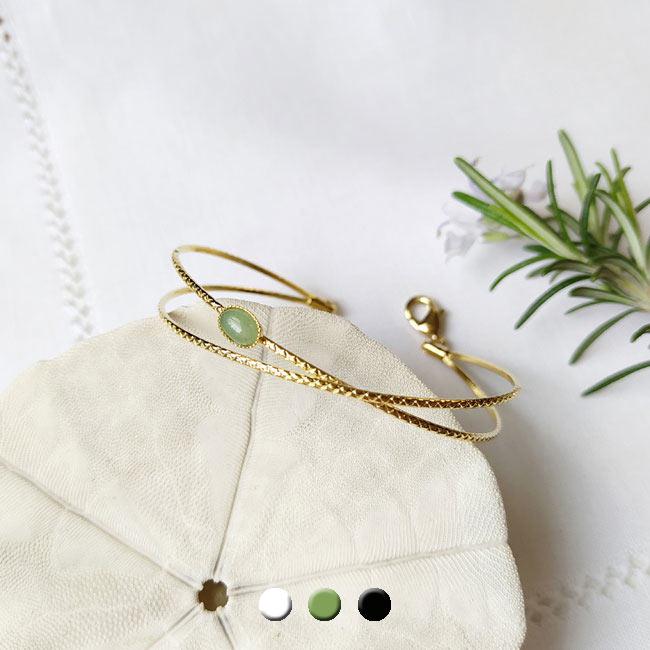 Customed-handmade-adjustable-gold-bangle-bracelet-gwith-a-green-gemstone-made-in-France